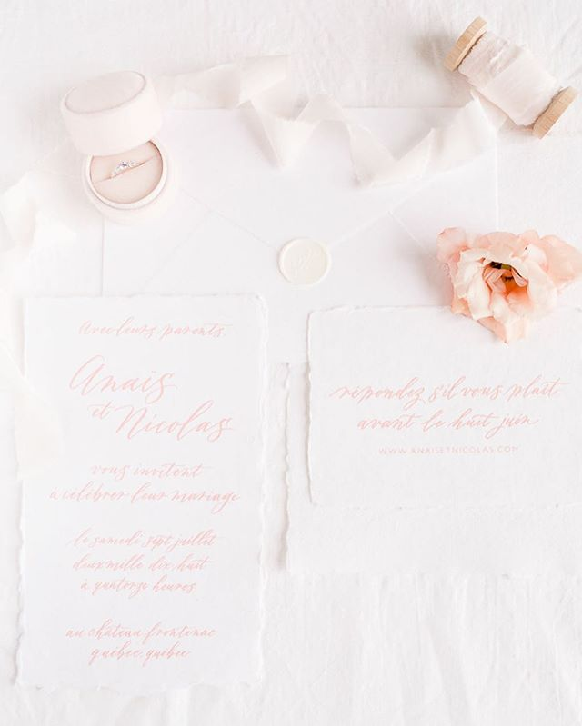 Modern calligraphy and blush details, screen printed on handmade paper and finished with a wax seal! . . . With @lisarenaultphotographie, @fabulousfancypants, @waxseals, @artisaire, @stellawolfeco, @joailleriestonge, @abeille_fleuriste + @wonderblush . . . #moderncalligraphy #dailydoseofpaper #handmadepaper #fabulousfancypants #artisaire #waxseal #weddinginspiration #mariagequebec #montrealweddings #montrealwedding #stationeryaddicts #stellawolfeco #silkribbon #inspirationmariage #papeteriemariage #papeterie #calligraphie #montrealcalligrapher #montrealcalligraphy #imacalligrafile