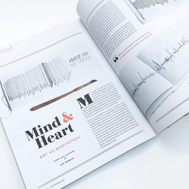 """Looking back at 2018, one of my most challenging projects was writing this article for @uppercasemag. I found it both profoundly difficult and rewarding - to write about my struggles with anxiety and reflect on the relationship between the body, the mind and our art. This piece talks about my experience in Ewan Clayton's """"Calligraphy of the Heart"""" class at the last @calligraphyconference, which planted some very meaningful seeds in my life. . . . For fellow creatives, do you find that your practice is a form of meditation and/or self-care for you? If you work in a creative field, do you have any forms of artistic expression that are just for pure personal enjoyment? For me, ceramics has become a beautiful outlet for creativity and relaxation that isn't tied to any kind of business endeavour. It's just for me and I love that quiet time to dig my hands into clay and just be. . . . #uppercasemag #uppercaselove #meditation #calligraphy #foldedpen #somatics #artasmeditation #bellletstalk"""