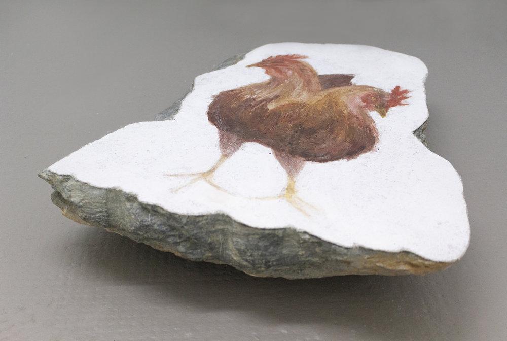 Hens, Fresco's strappo on stone