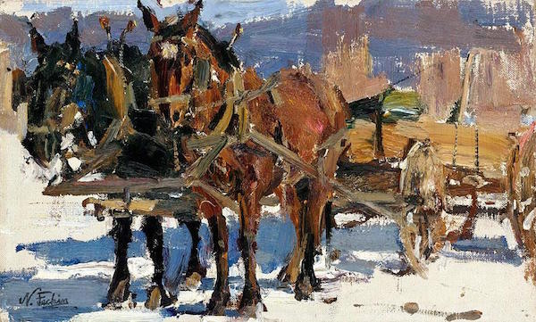 Horses hitched, Nikolai Fechin (Russian artist, later moved to the USA and settled in Taos)