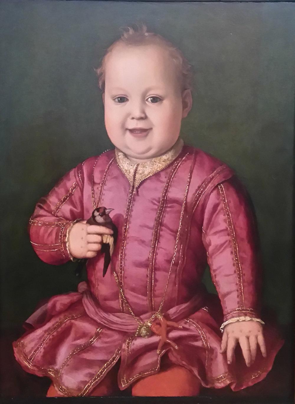 Baby Cosimo with bird