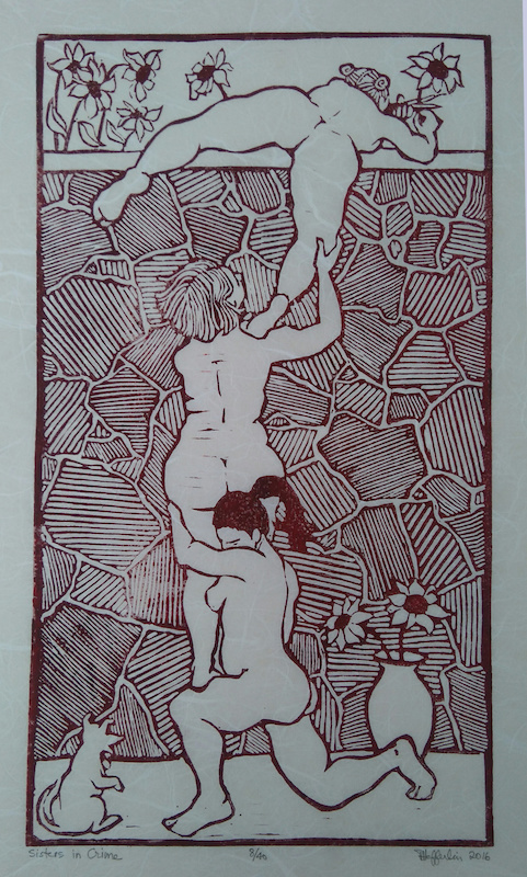 Sisters in Crime, hand-pulled linoleum print, edition of 40  2016