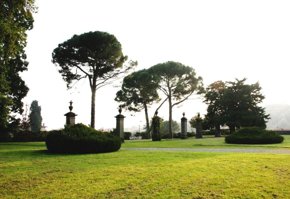 The gardens as seen from the villa.