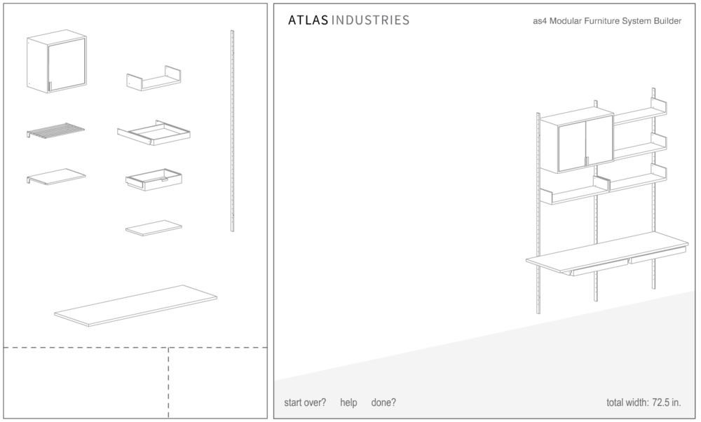 atlas industries as4 builder modular shelving system customizable floating handmade