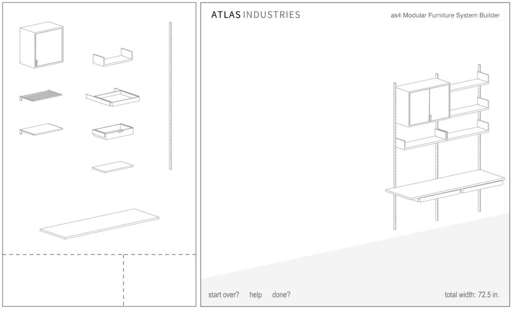 atlas industries as4 builder modular shelving system customizable floating handmade