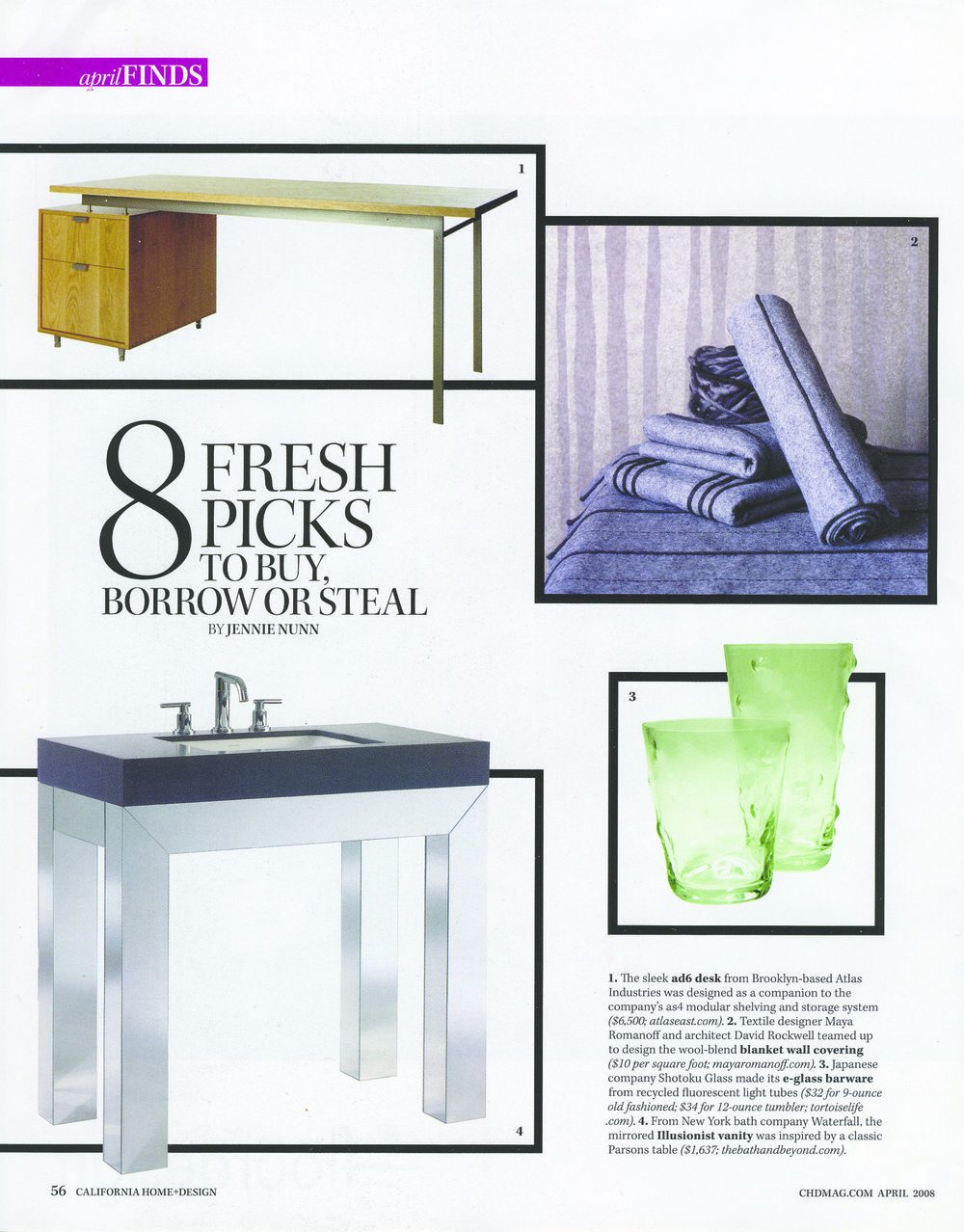 The Ad6 Desk Is Featured In The Product Roundup Of California Home And Design  Magazine.