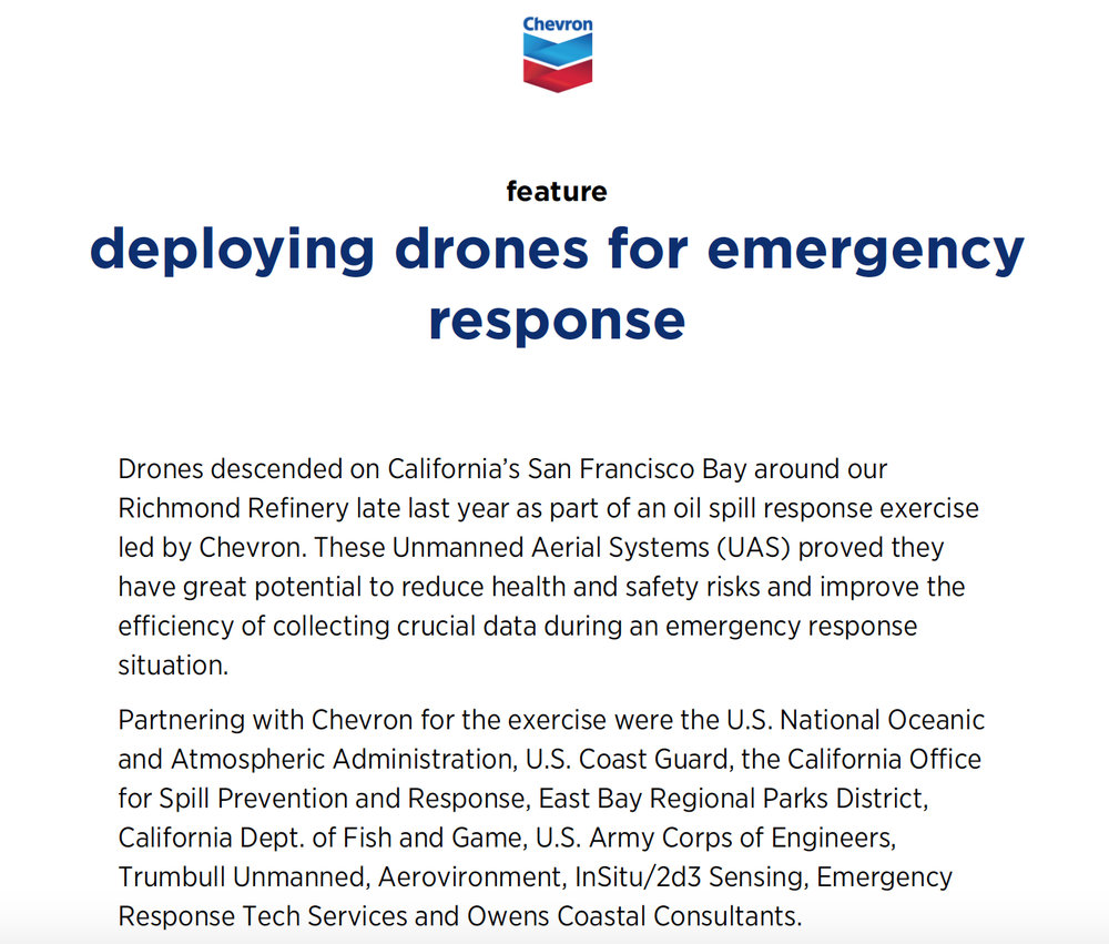 Read more on the  Chevron  feature  deploying drones for emergency response .
