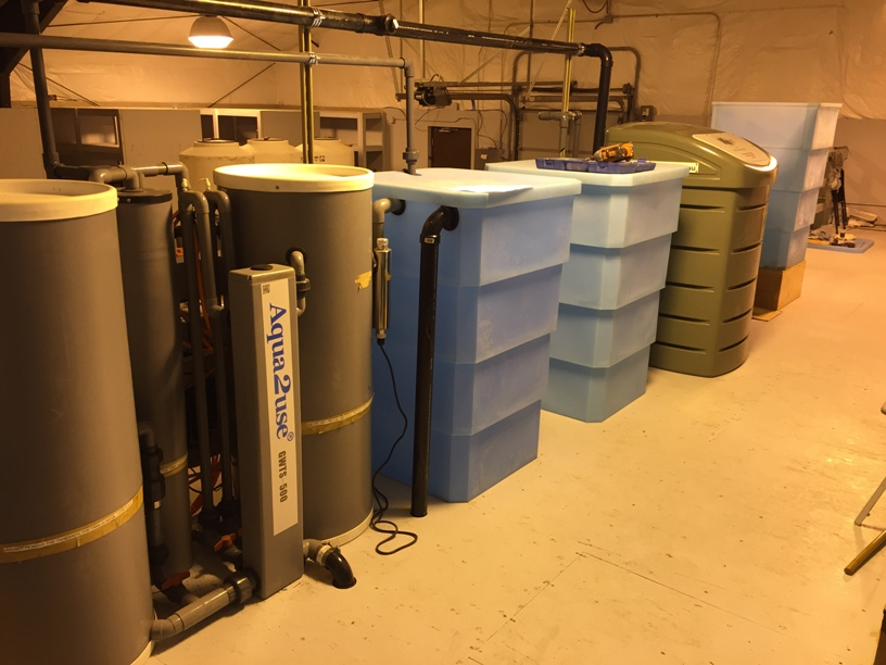 Two of the four greywater treatment systems being tested at the lab.