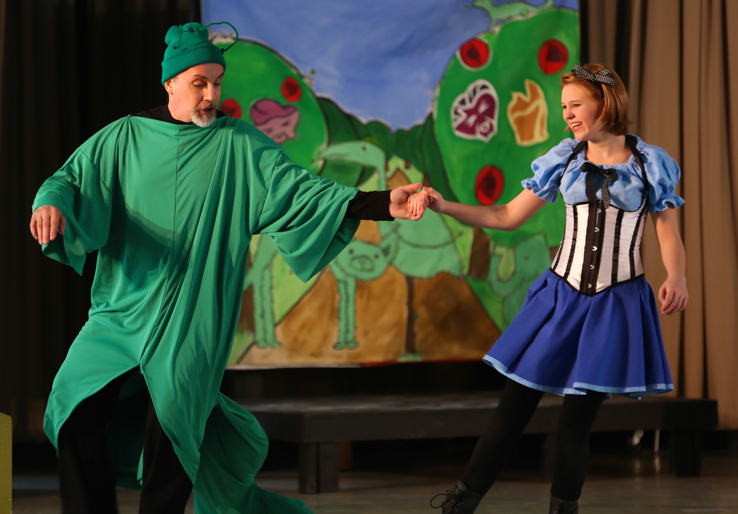 "Tim Wiest, Caterpillar and Betsy Jones, Alice, in DRT'S ""Alice, a mad musical fantasy,"" February 2016"