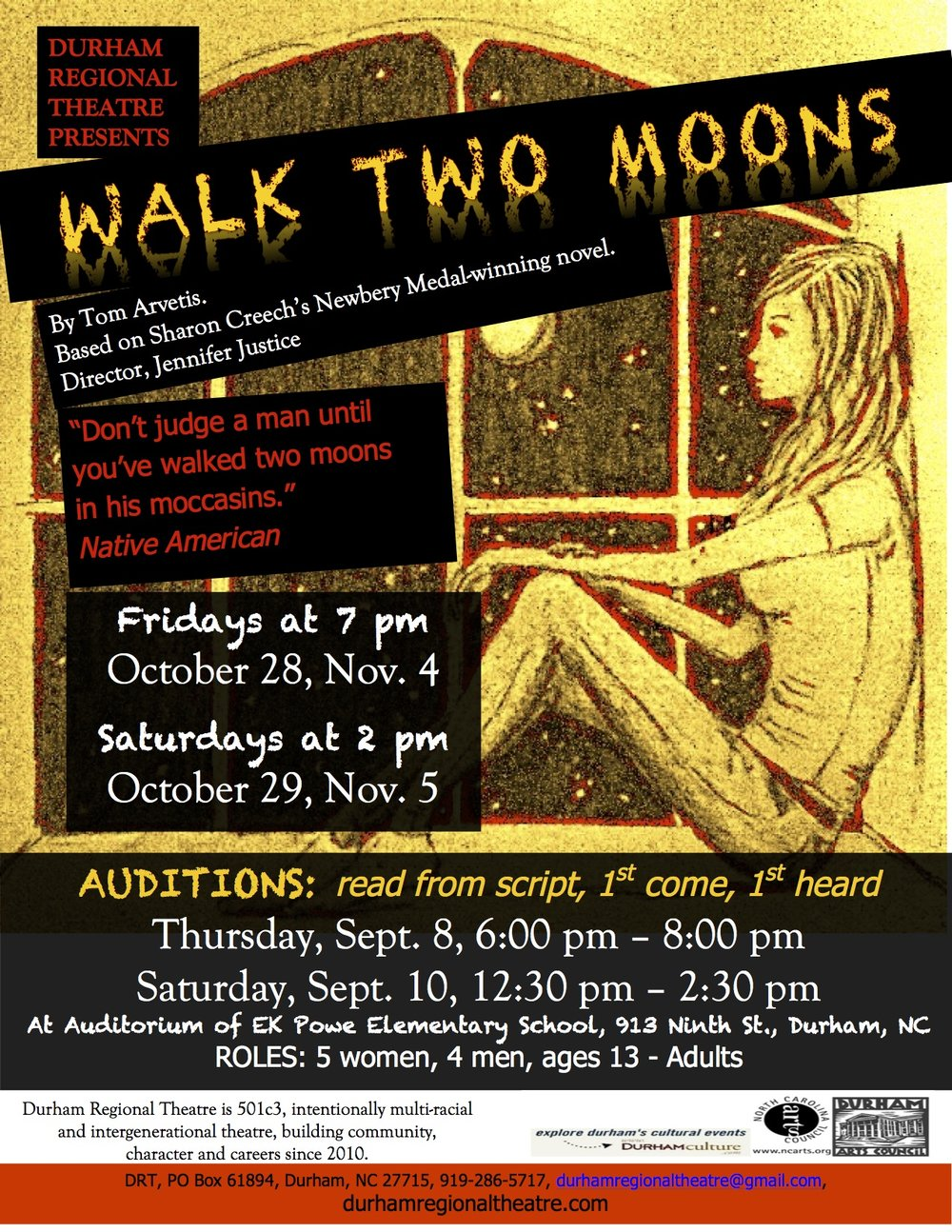 A Great Start To Auditions For Walk Two Moons Durham Regional Theatre