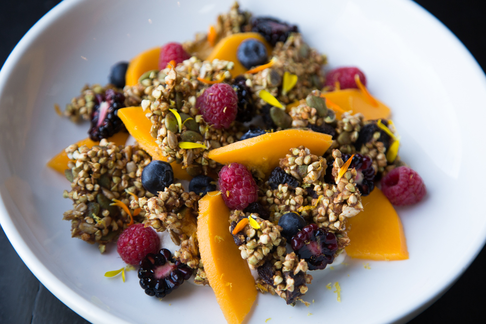 Sprouted buckwheat granola with fruit and cultured coconut cashew yogurt