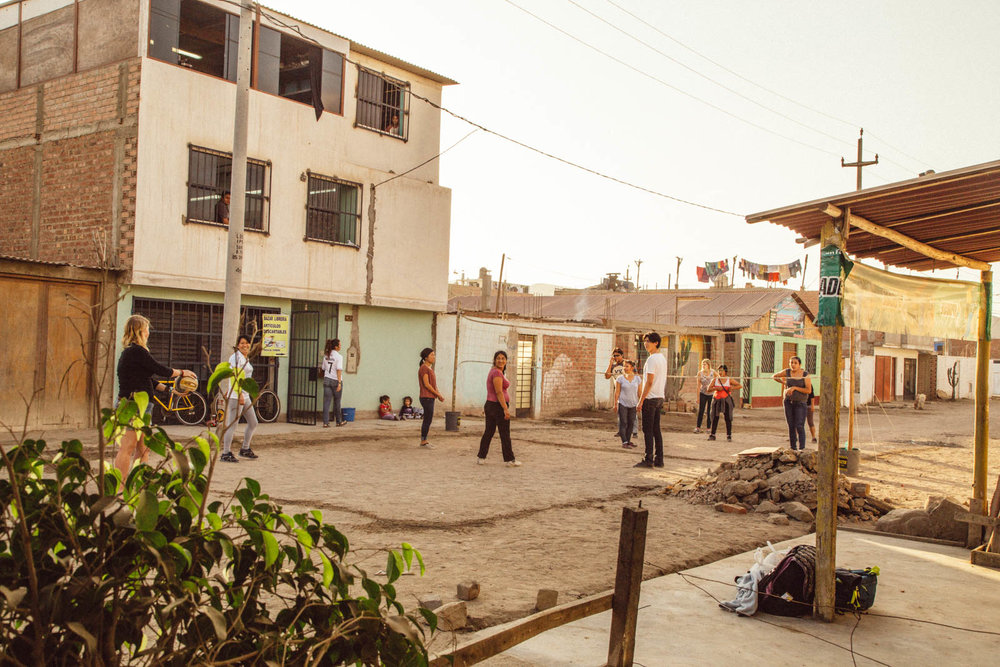 Krochet Kids Peru volunteers and beneficiaries playing volley after work, Chorrillos, Lima, Peru | December 5, 2014
