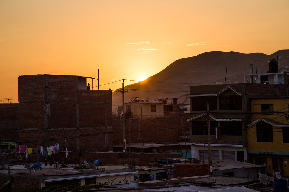 Sunset from one of Krochet Kids Peru offices, in Chorrillos, Lima, Peru | October 17, 2014