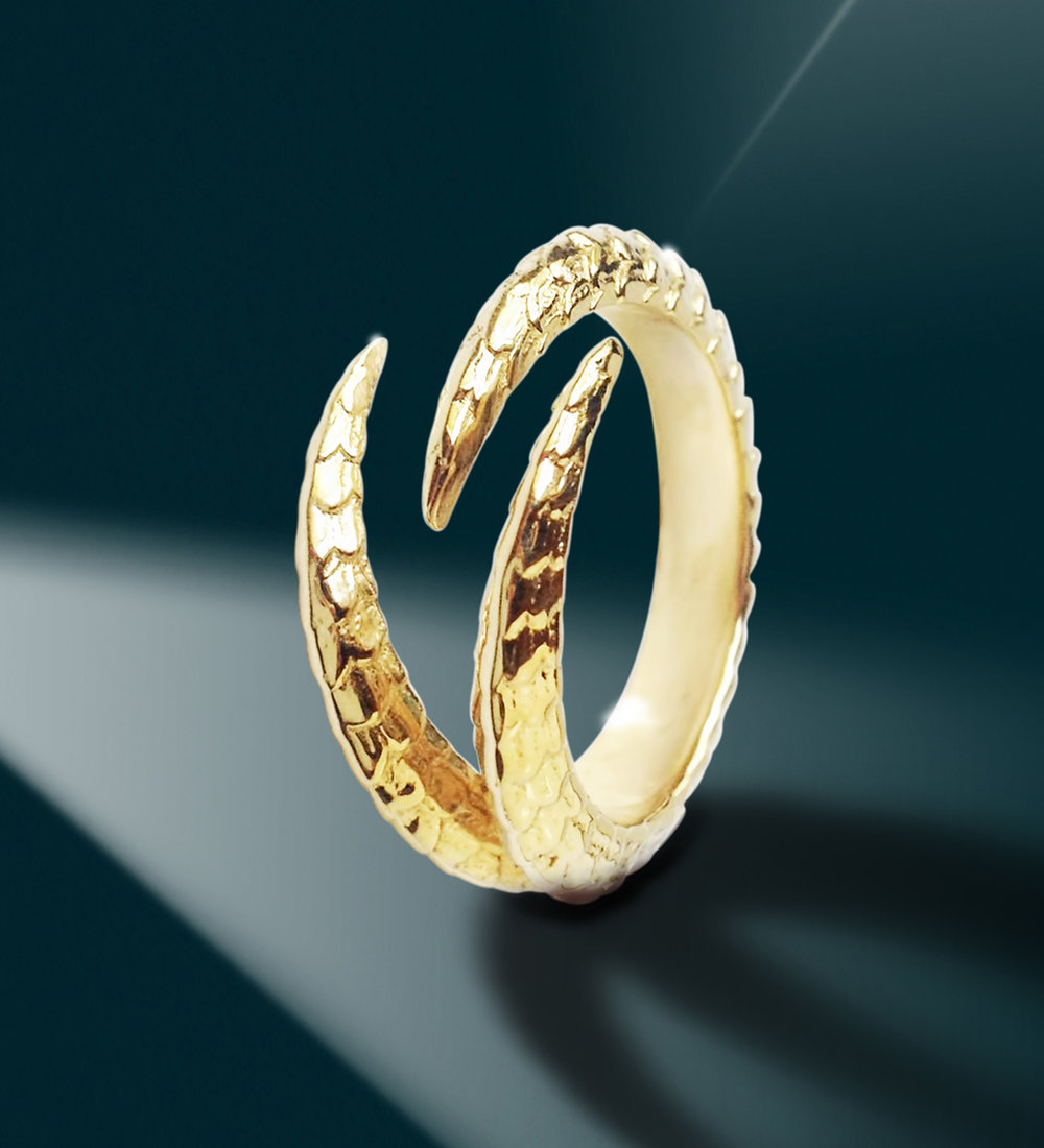 Triple claw ring 14k yellow gold for Triple j fine jewelry