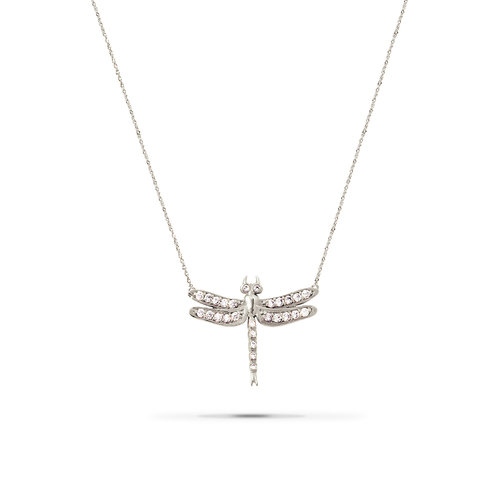 Small dragonfly diamond necklace white gold jherwitt small dragonfly diamond necklace white gold aloadofball Gallery