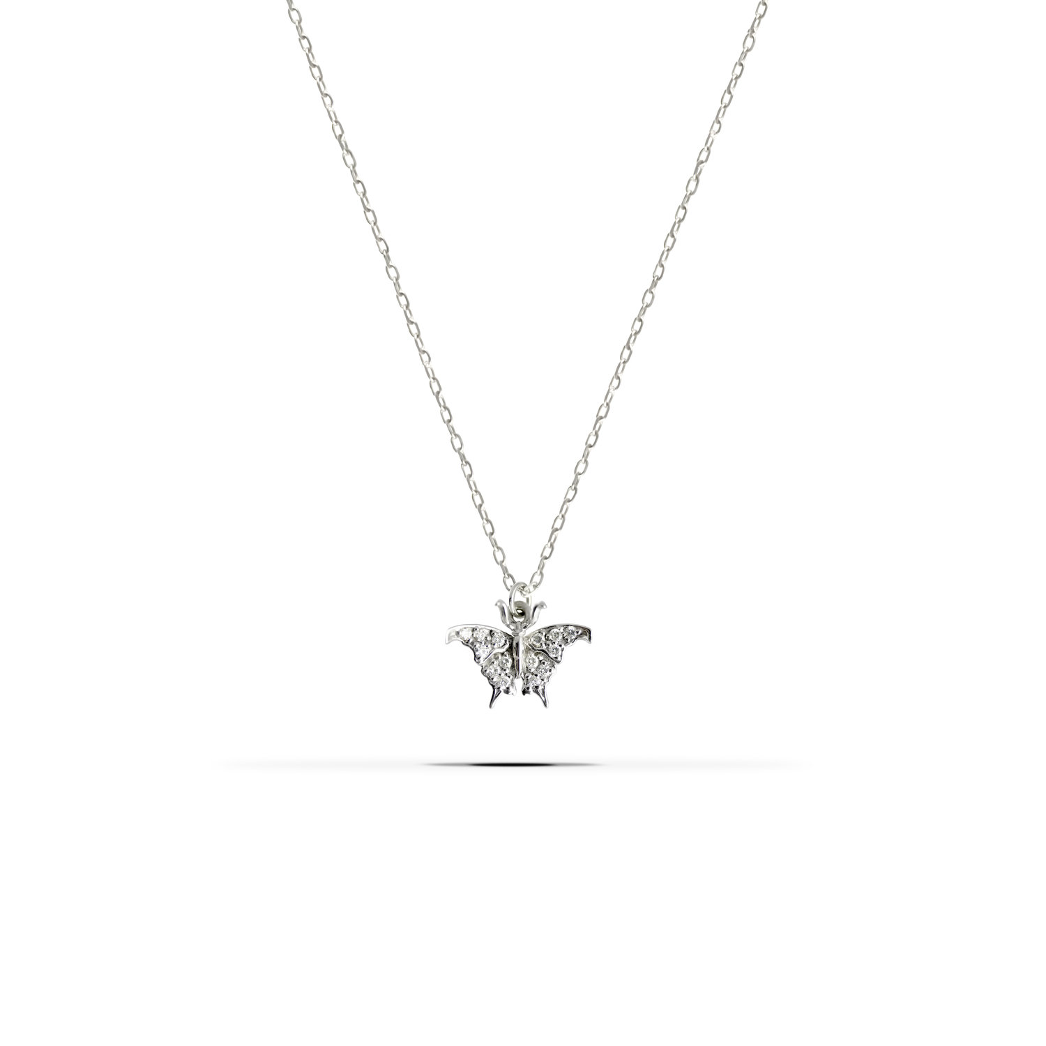 Small Butterfly Diamond Pendant Necklace Front View White Gold J Herwitt