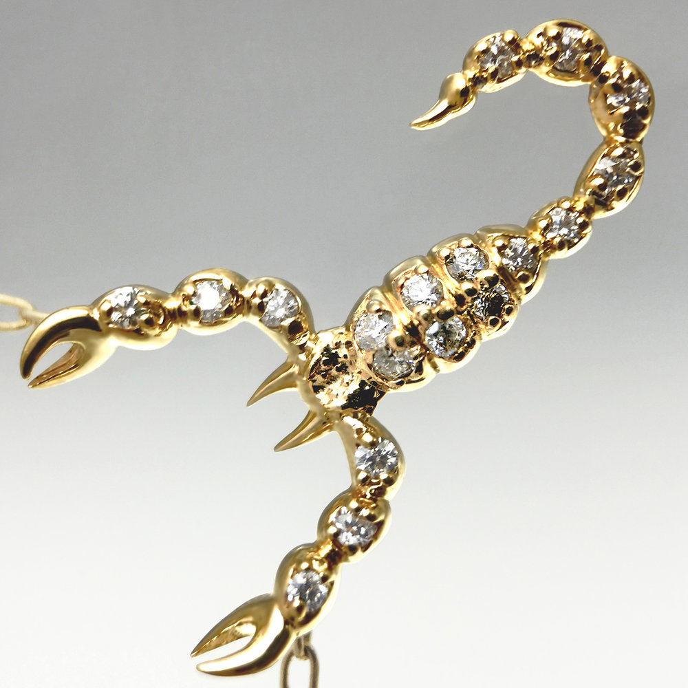 Small Scorpion Necklace Yellow Gold Plated jherwitt