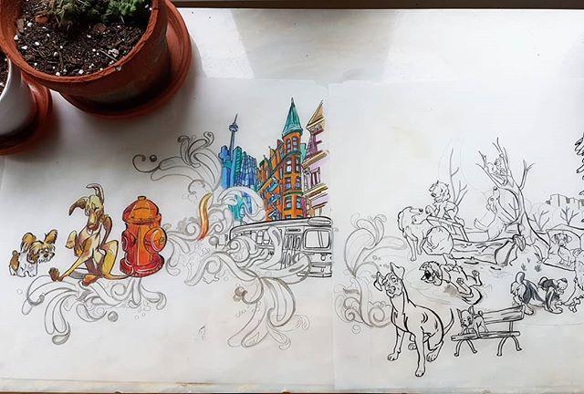 Still adding colour. But a little sneak preview of the latest mural concept design . . . .  #muralmuralonthewall #muralconcept #muralconceptart #sketch #concept #art #illustration #conceptdesign #dogillustrations #torontoart #sketchdesign #muraldesign