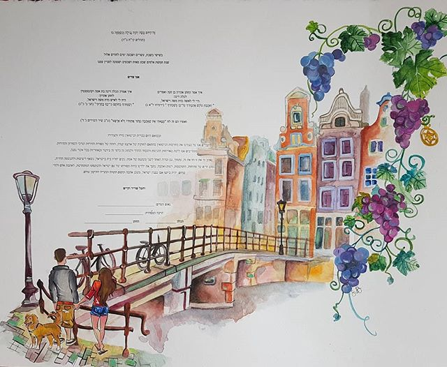 Last Friday two very special people tied the knot and this Amsterdam inspired ketubah was to symbolize their very first trip together...and of course their precious Nala made an appearance in there too 😉 A very huge Mazal tov to Dina and Zach! . . .  #ketubah #ketubahart #ketubahdesign #judaica #weddingart #marriagelicense #Amsterdam  #colourful #judaicaart #jewishwedding #amsterdamart #weddinggift #muralmuralonthewall