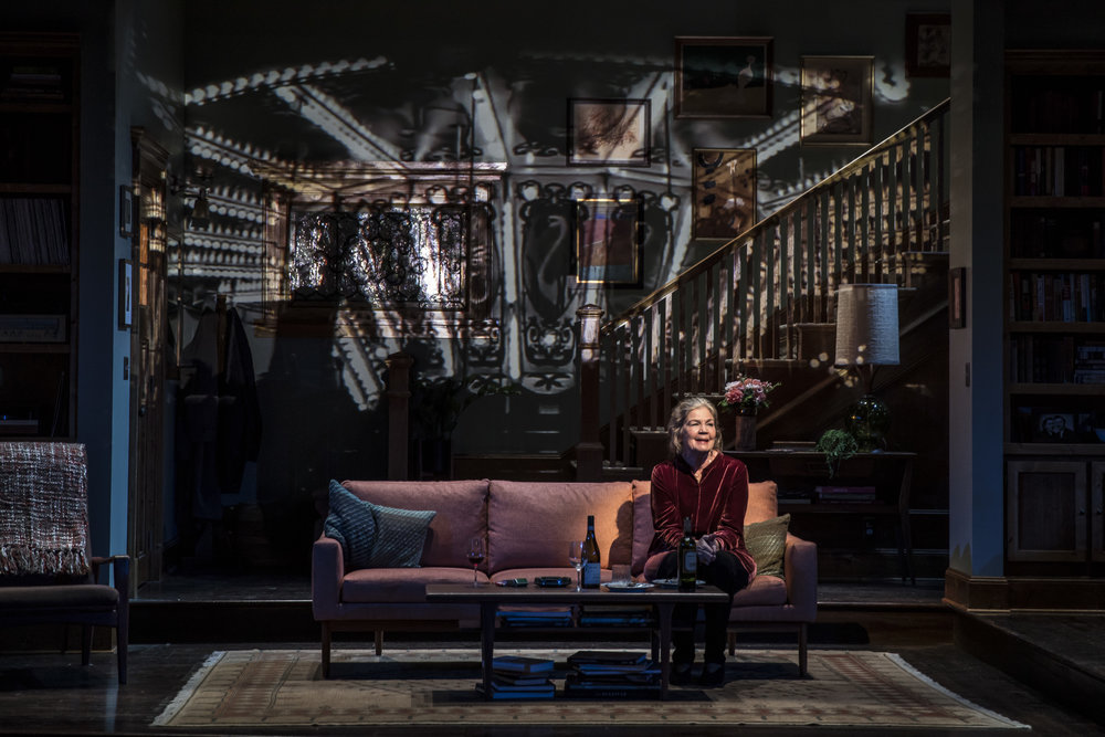 Lady in Denmark by Dael Orlandersmith and directed by Chay Yew at the Goodman Theatre. (Photo by Liz Lauren) Linda Gehringer plays Helene. Projection Design by Stephan Mazurek. Set by Andrew Bryce.