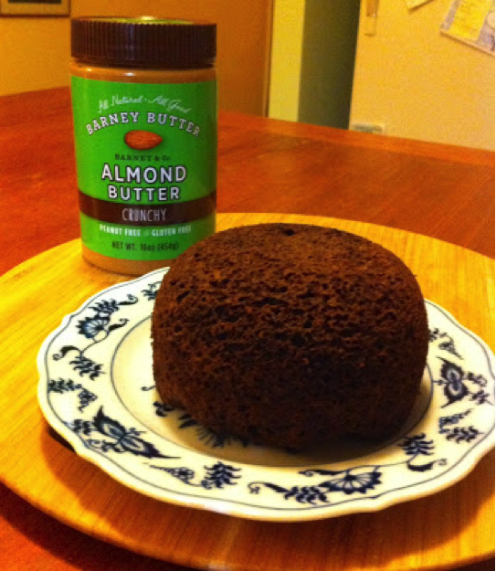 The finished product (about the size of a small grapefruit) with my favorite topping, almond butter from Barney Butter.