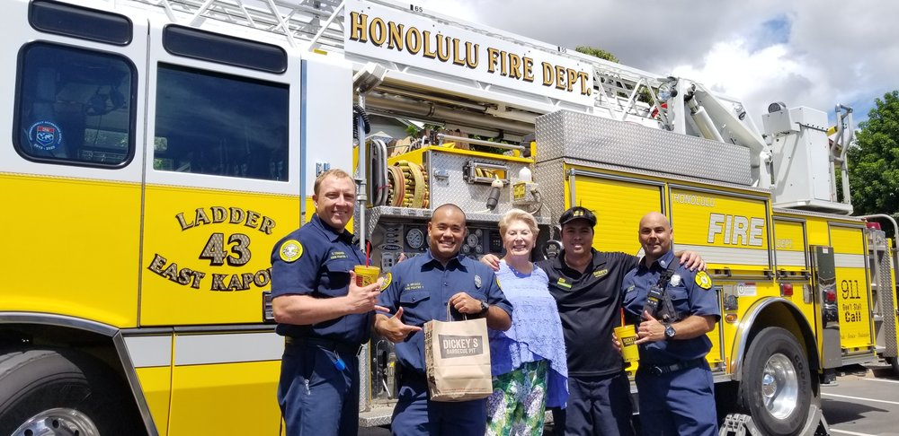 Maurine Dickey with the fire department in Kapolei, oahu