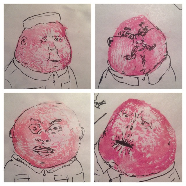 Red Beets. Prints made from beets, turned into old communist men.