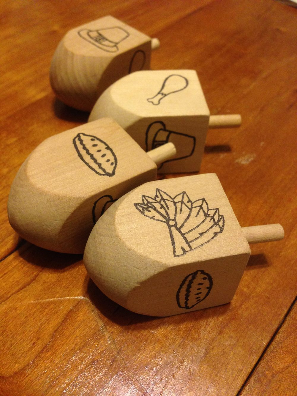 Thanksgiving Dreidels. From when Thanksgiving and Hanukkah coincided