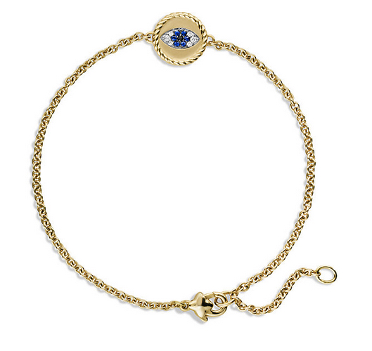 Pavé Cable Evil Eye Charm with Blue Sapphire, Diamonds and Black Diamonds in Gold, $975