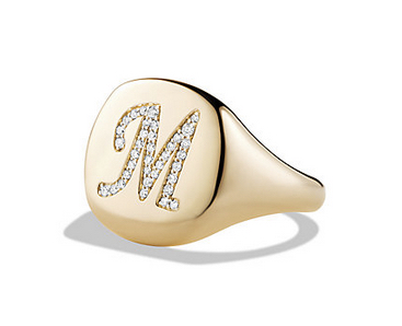 DY Initial Pinky Ring with Diamonds in Gold, $2,350