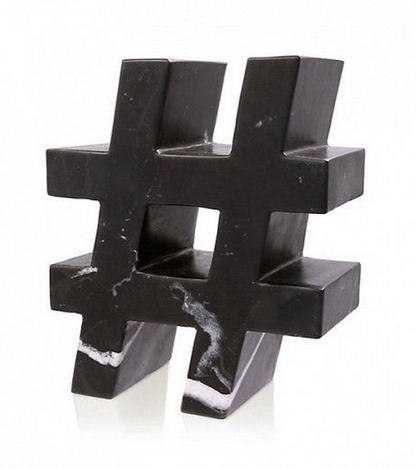 Marble Hashtag Sculpture, $550