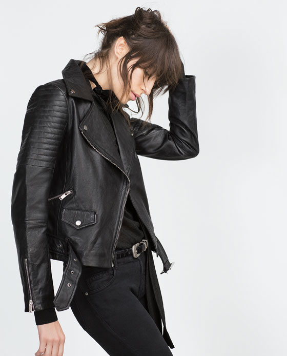 Leather jacket with zips, $189