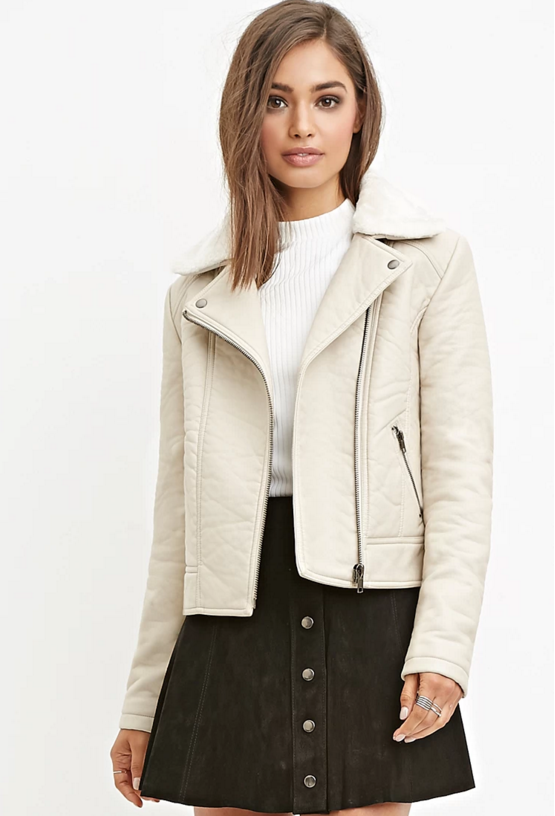 Faux leather moto jacket, $32.90