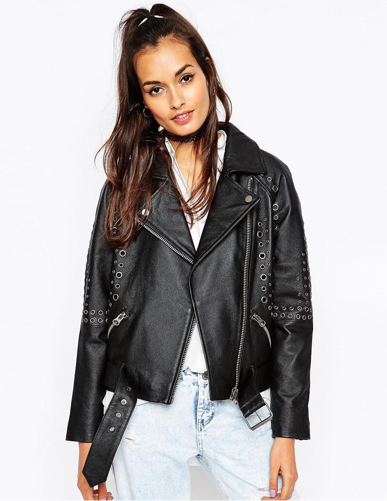 ASOS leather biker jacket with eyelet embellishment, $358.30