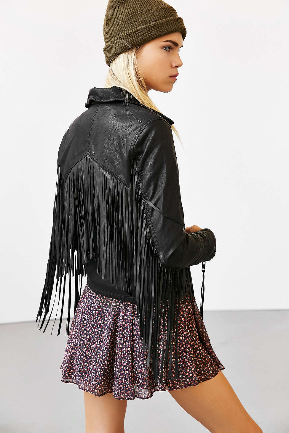 BLANKNYC vegan leather fringe jacket, $138