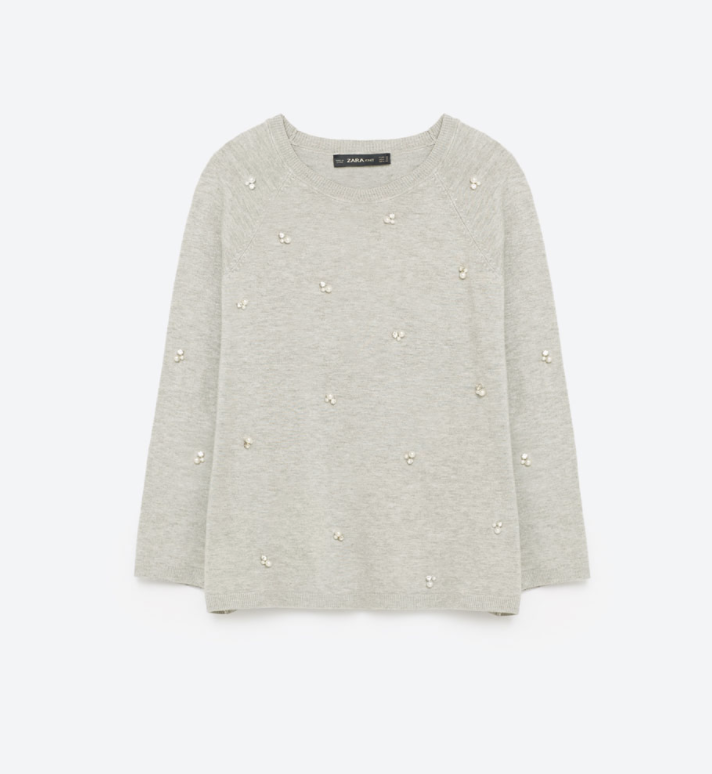 Zara Pearl Sweater, $39.90