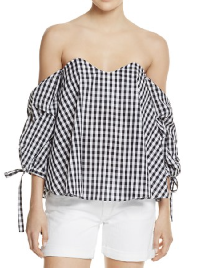 Gingham Off-The Shoulder Top, $68