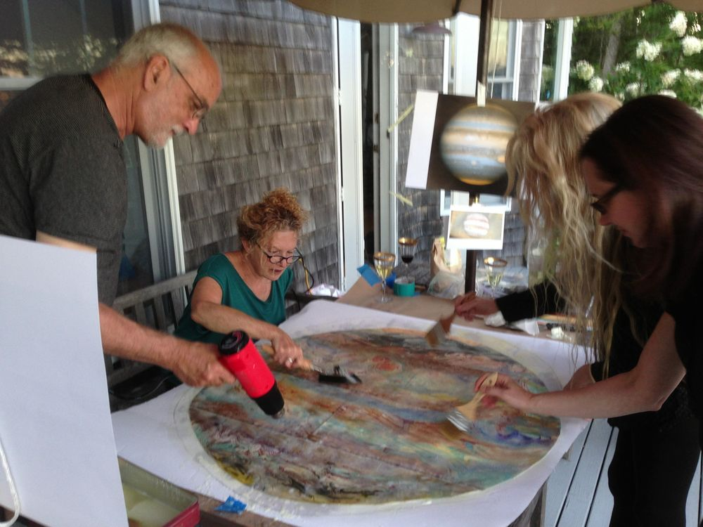 Later on, at our house, special guests Dan McCoy of Pixar, Dina Helal of the Whitney Museum of American Art, Margaret Krug of Parsons the New School worked with Pamelia to the Jupiter painting. It will become one of our planet tables in the 2014 Notebook.