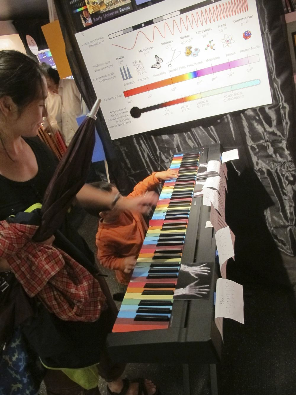 Pianists young and old tested out our electromagnetic spectrum keyboard.