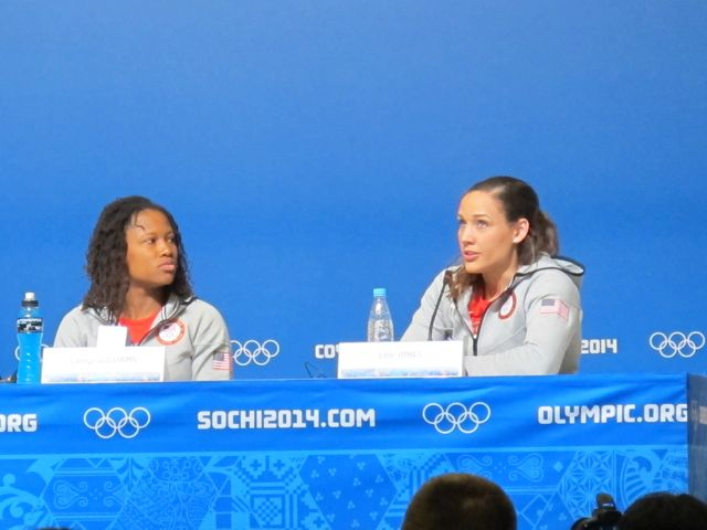 In the days before they compete, teams come to the main press center to talk to reporters. There's usually a group press conference, then a rush of reporters to talk to the individual athletes afterwards. Above are women's bobsledders Lauryn Williams and Lolo Jones, both of whom have also competed in track and field at the Summer Olympics.