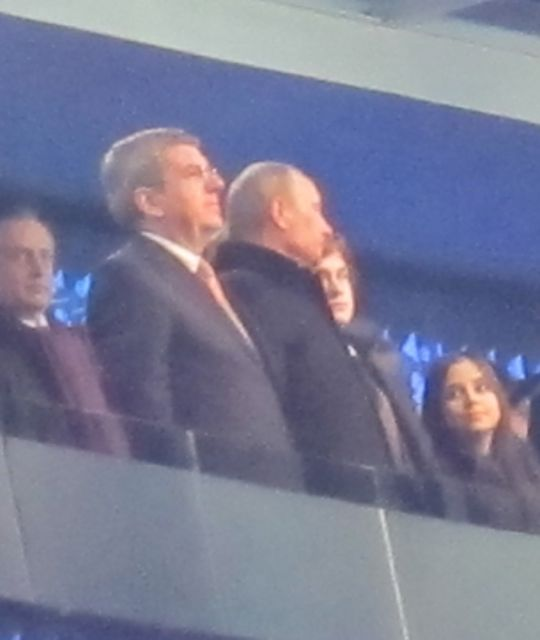 Here's Vladimir with IOC president Thomas Bach on the left. We interviewed Bach before the Games and I like him.