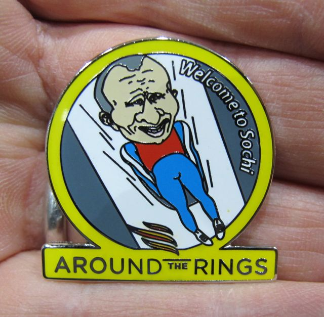 One last shot: Another Putin pin, this one showing him as a luger.