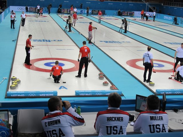 I arrived just in time to see the U.S. men's curlers taking on Denmark.