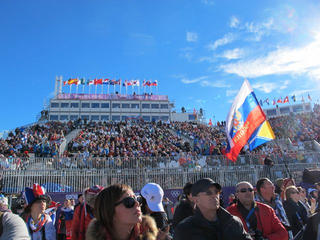 I was standing on the packed-snow corral at the bottom of the slope style course, with the stands and TV booths behind me.