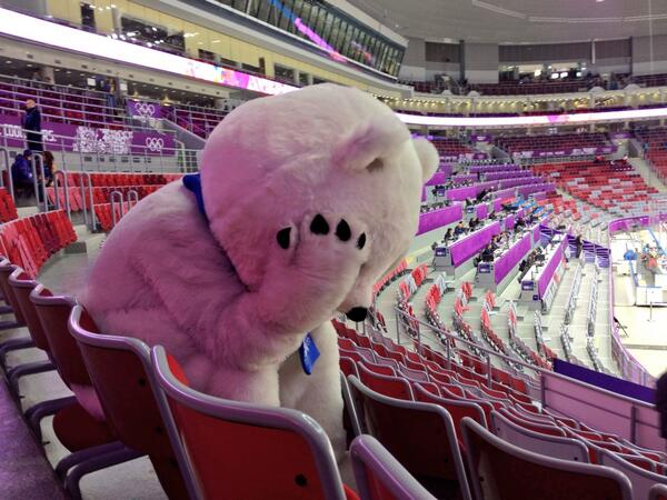 The polar bear mascot was sad after Russia lost to Finland in hockey.