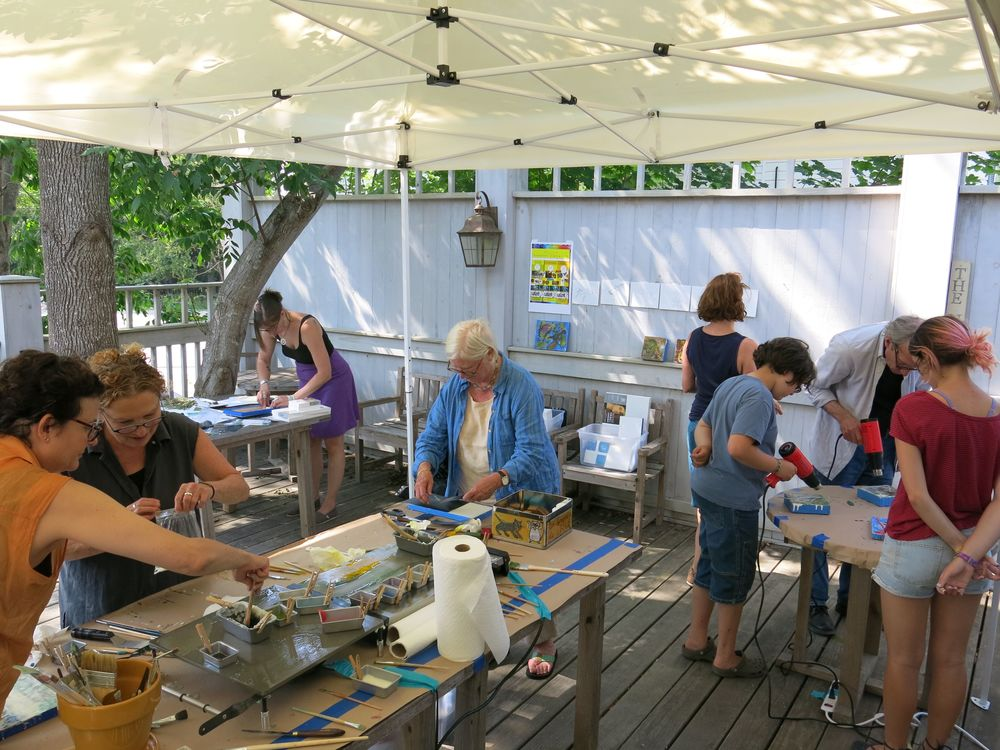 One of the encaustic workshops taught last summer by Dina (second from left).