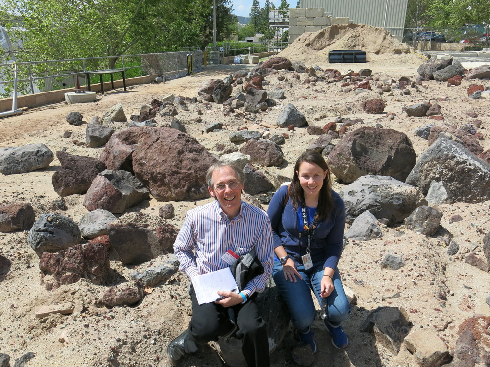 Katie with me in March at the JPL's Mars Yard, which is used to test Mars Rovers.