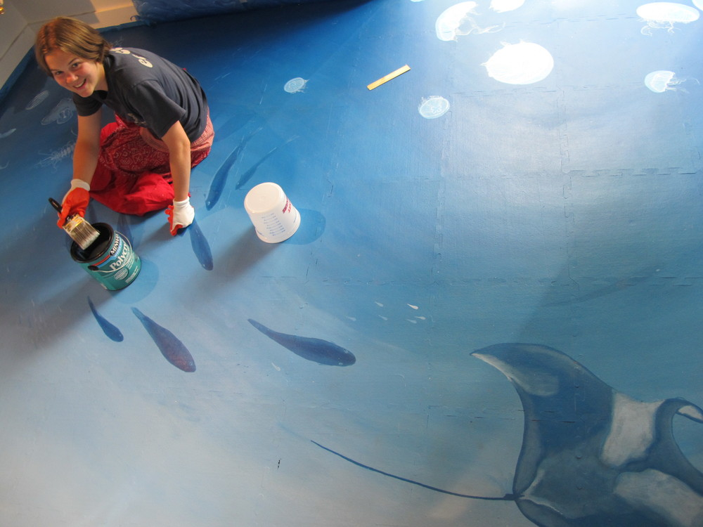 Robin has been curating our Ocean Room in Seal Harbor. She has been painting the floor and walls and building ocean-themed installations.