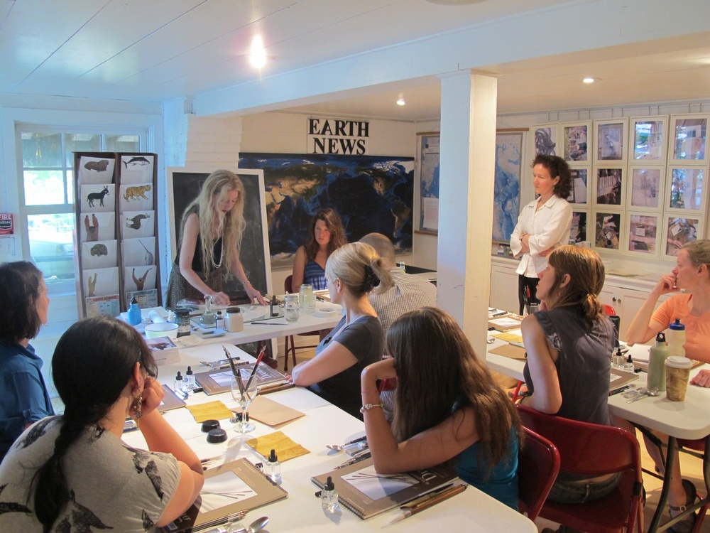 Here's Margaret leading one of her past workshops at the Notebook in Seal Harbor. She is not only a teacher but also a superb artist, art historian and writer (in books and for American Artist magazine).