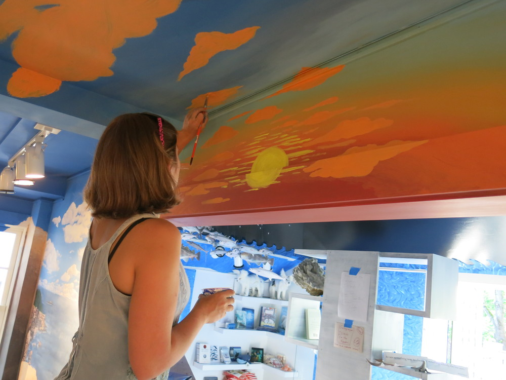 Jordan has been painting the walls and ceiling of our Forest and Tidal Room in Seal Harbor with a scene that extends from Mount Katahdin to the rocky coast.